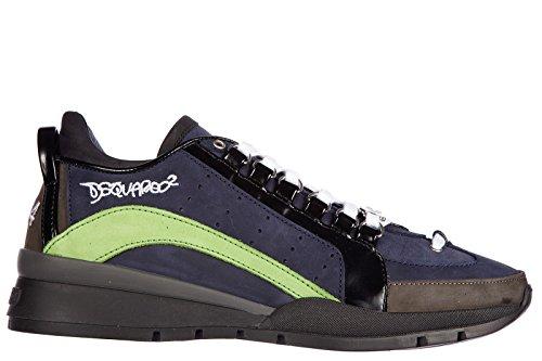 Dsquared2 scarpe sneakers uomo in pelle nuove 551 nabuk blu EU 42 W15SN404097M482