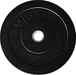 Wright 10 Lb Solid Rubber Bumper Weights - Great  Cross Training & Olympic Lifting - Sold in pairs