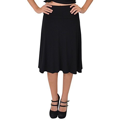 Stretch is Comfort Women's Knee Length Flowy Skirt Black Medium