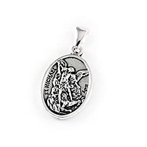 Religious Oval Medallion (Two-sided: St. Michael/Guardian Angel) Pendant