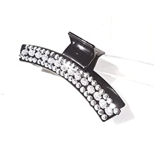 Decorative Hair Claw Clip Jaw One Flashy Rhinestone Hair Clip Silver Bling 4.5