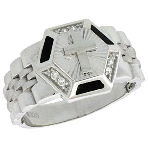 Revoni-Bracciale in argento Sterling, da uomo, stile orologio esagonale ad anello con zirconia cubica, 17/32 in. (14 mm), Argento, 70 (22.3), colore: argento, cod. SILV-RCZ857-13