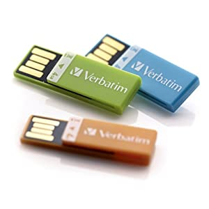 Verbatim Clip-IT 4 GB USB 2.0 Flash Drive 3 Pack, Orange, Blue, Green 97563