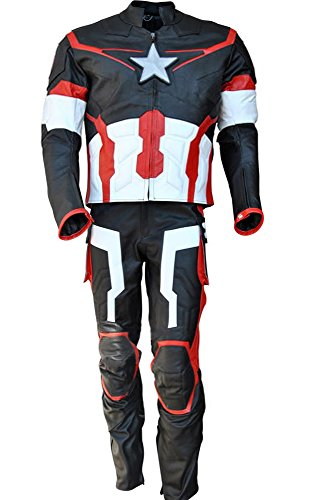 Sleekhides Men's Age of Ultron Real Leather Motorcycle Costume Cow Black Medium