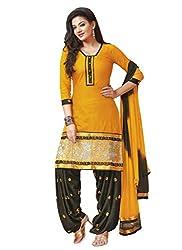 Salwar Studio Mustard & Dark Olive Green Dress Material with Dupatta RP-1003