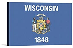 Wisconsin State Flag - Letterpress (36x24 Gallery Wrapped Stretched Canvas)