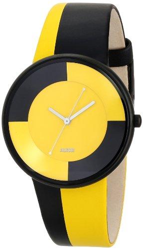 Alessi - Reloj unisex de cuero Resistente al agua amarillo