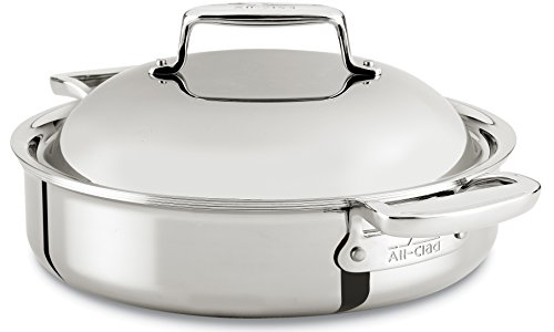 All-Clad SD7540416 D7 18/10 Stainless Steel 7-Ply Bonded Construction Dishwasher Safe Oven Safe Braiser Dutch Oven, 4-Quart, Silver (All Clad Dutch Oven Nonstick compare prices)