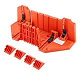 Mitre Saw Box, Woodworking Clamping Mitre Box Precision Hand Mitre Box with 22.5° 45° 90 °135° 4 Angle Slot Types and Double Sided Teeth for Woodworker Carver Carpenter (Color: Red)