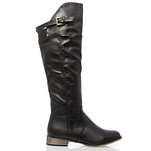 V-Luxury Womens 32-MOLINO12 Closed Toe Knee High Med ...