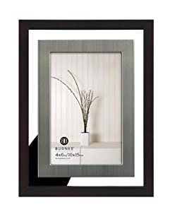 Burnes of Boston 486846 Delancy Floating Picture Frame, Espresso and Pewter, 4 by 6 Inches