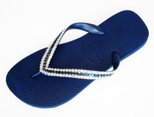 Cheap NAVY CLEAR MONTANA STRIPE Swarovski Crystal Havaianas Flip Flops Sandals Thongs sizes 5-11 (B002H44G0C)