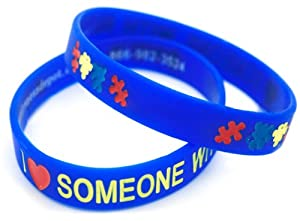 I Love Someone with Autism Silicone Bracelet - Adult Size (25 Pack)