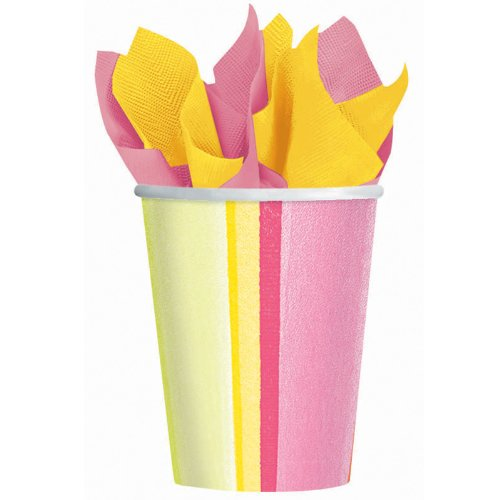 Amscam 8 Count Sunny Stripe Pink Paper Cups, 9 oz, Multicolor - 1