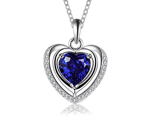 PMANY 925 Sterling Silver Plated Heart Shape Blue Sapphire Pendant,Crystals Jewerly Necklace,for Women