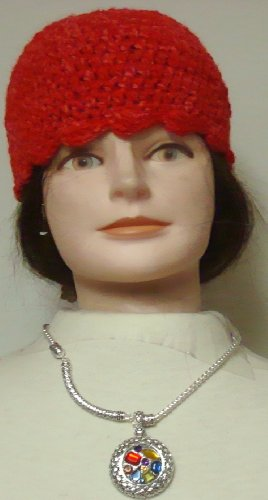 Hand Crocheted Red Chenille Gimp Stripped Skull Cap Offered with Sterling Silver Plated Necklace Sparkling Crystals Simulated Jades Large Pendant