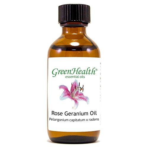 Rose Geranium - 2 fl oz (59 ml) Glass Bottle w/ Cap - 100% Pure Essential Oil - GreenHealth