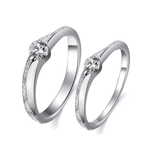 High-end Fashion Matte Finished Platinum Plated Couples Wedding Bands Rings Set with Cubic Zirconia