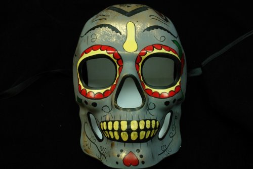 Grey Mexican Sugar Skull Hand-Painted Paper Mache Mask
