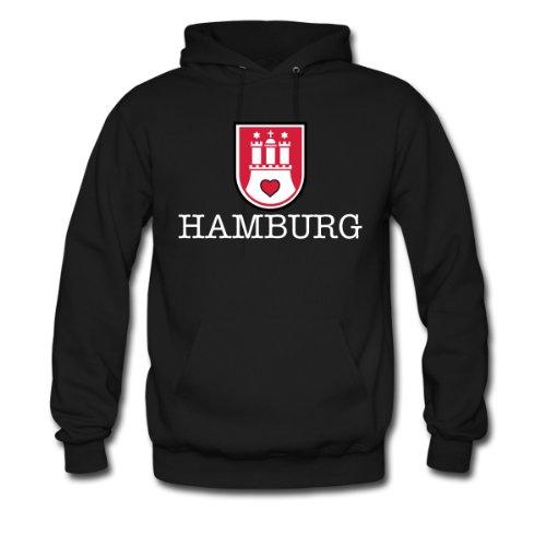 Spreadshirt, hamburg wappen, Men's Hoodie, black, S
