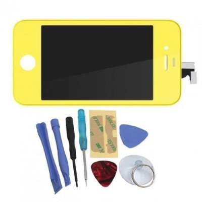 Binnbox Yellow Lcd Touch Screen Glass Digitizer Assembly Replacement For Iphone 4S Gsm + Back Cover Case + A Set Cracked Screen Repair Tools Kit