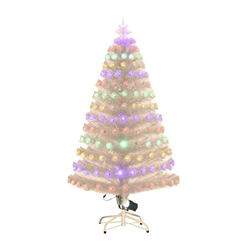 5' Artificial Holiday Fiber Optic Light Up Christmas Tree - Clear