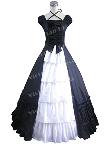 Civil War Southern Belle Gothic Black And White Lolita Satin Ball Gown Dress