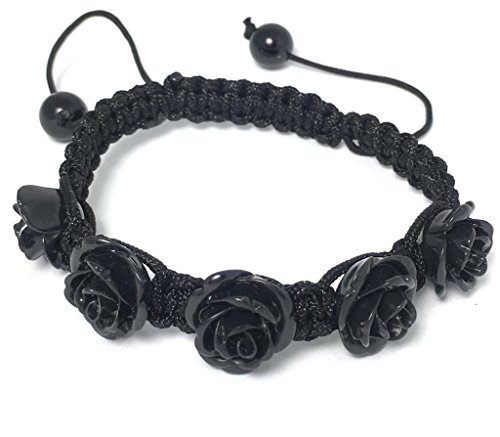 Alice Yan Jewelry Black Rose Bracelet Hypoallergenic Adjustable Size 7