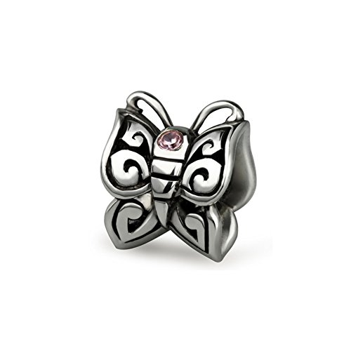 Ohm Beads Sterling Silver CZ Butterfly Bead Charm