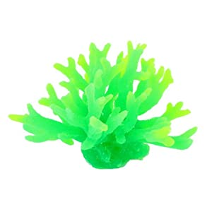 Uxcell Silicone Aquarium Coral Decoration, 3.9-Inch, Green
