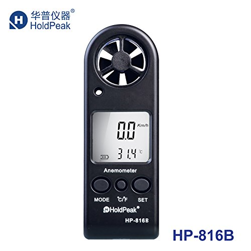 HOLDPEAK 816B Digital Mini Sized Anemometer - Wind Speed Meter For Windsurfing Kite Flying Sailing Surfing Fishing - This Wind Speed Tester Measures Wind Speed + Temperature + Wind Chill with Backlight & Auto Power Off