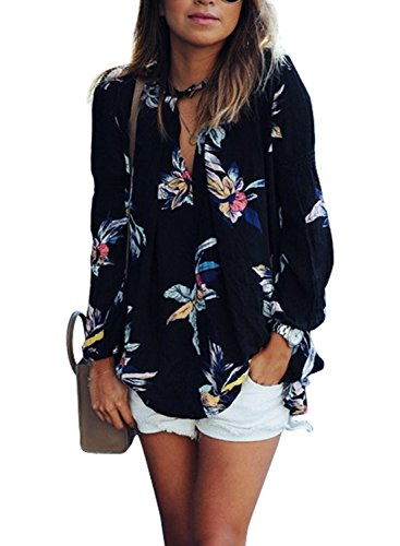AMiERY Women's Long Sleeve Floral Print Shirts Juniors V Neck Blouse Tops S-XXL