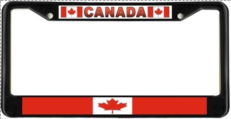 Canada Canadian Flag Black License Plate Frame Metal Holder