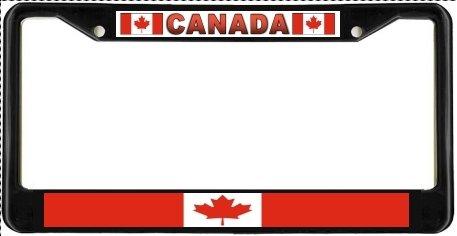 Canada Canadian Flag Black License Plate Frame Metal Holder