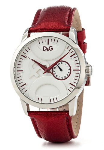D & G Twin Tip Ladies Quartz Watch DW0701 With Silver Multi Function Dial, Stainless Steel Case And Red Metallic Leather Strap
