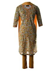 AzraJamil Fine Cotton Floral Printed And Mirror Hand Worked Traditional Churidar Suit For Women