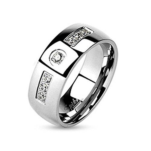 Paula & Fritz® Ring aus Edelstahl Chirurgenstahl 316L silber 6 – 8mm breit mit eingelassenen Zirkonia und Zirkonia Zentrum farblos verfügbare Ringgrößen 47 (15) – 66 (21) R-M4587