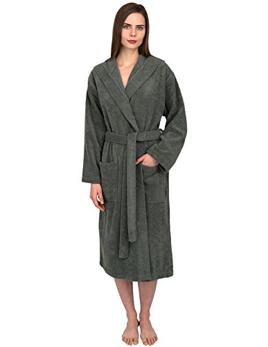 TowelSelections Women's Turkish Cotton Bathrobe Hooded Terry Robe Medium/Large Sedona S. Gray (Hooded Terry Cloth Robe For Women compare prices)