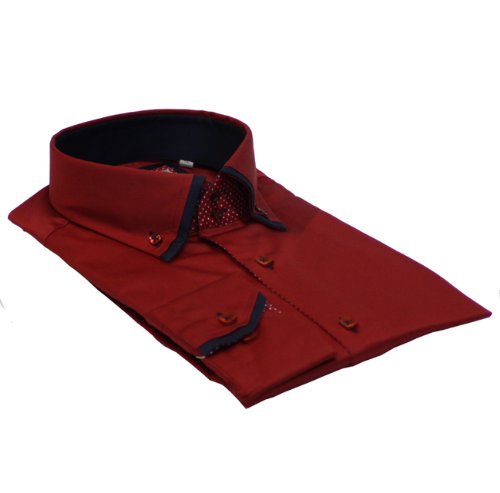 Men Shirt Italian Design High Collar Slim Fit Smart Casual Formal Double Button SL472 Red