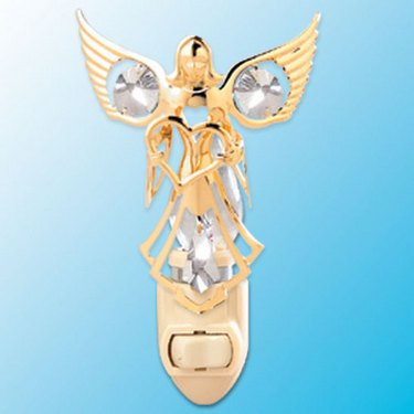 24k Gold Angel with Heart Night Light - Clear Swarovski Crystal