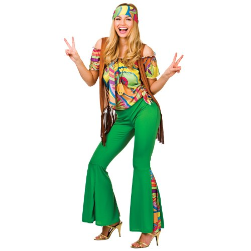 Wicked Groovy Hippie Full Outfit for Women. Includes head band, shirt, waistcoat, trousers, necklace