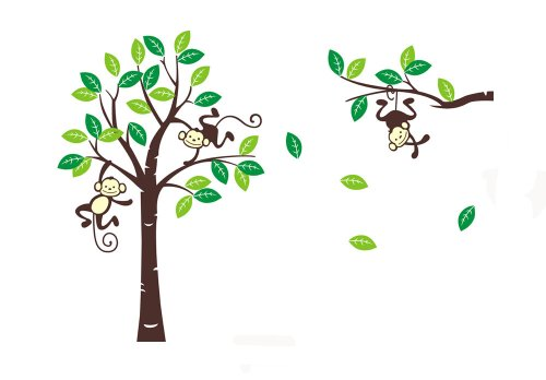 Cute Monkey Climbing on Beautiful Tree Monkey Wall Decal Nursery Wall Decal