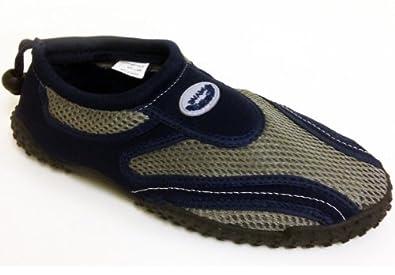 ES-1185M Men's Water Shoes Aqua Socks Slip on 4 Colors Athletic Pool Beach Surf Yoga Dance Exercise Sizes (7 D(M) US, Navy \ Grey)