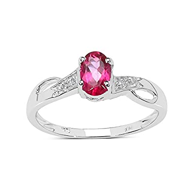 The Pink Topaz Ring Collection: 9ct White Gold Oval Pink Topaz Engagement Ring with Diamond Set Shoulders