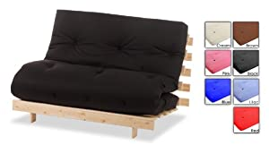 "Black 2ft6"" Single Bed Futon Wood Frame & Mattresses Available In A Choice Of Colours! SIZE & COLOUR : 2 FT 6"""