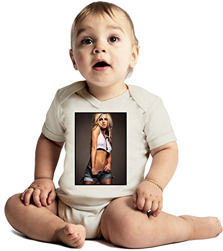 Britney Spears Sexy Slim Cut Fashion Amazing Quality Baby Bodysuit by True Fans Apparel - Made From 100% Organic Cotton- Super Soft V-Neck Style - Unisex Design- Perfect As A Present 12-18 months