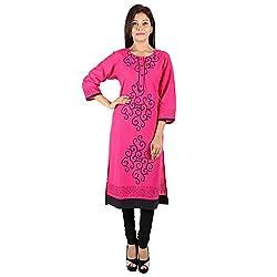 Kaash Women's Straight Kurta_VRIDARANI01_XL_Dark Pink