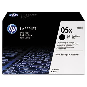 1 X New-HP CE505XD - CE505XD (HP 05X) High-Yield Toner, 6,500 Page-Yield, 2/Pack, Black - HEWCE505XD
