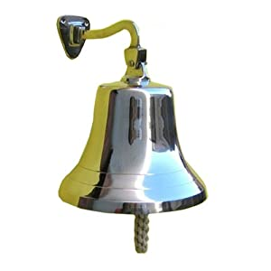 Amazon Com Large Solid Brass Wall Mounted Bell Chrome