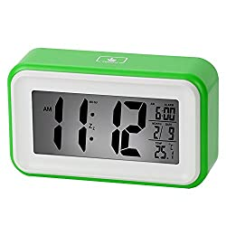 Coolzon Electronic 6 Alarm Clock Large LCD Screen Display Date And Temperature Touch White Background Smart Automatic Night Light, Green